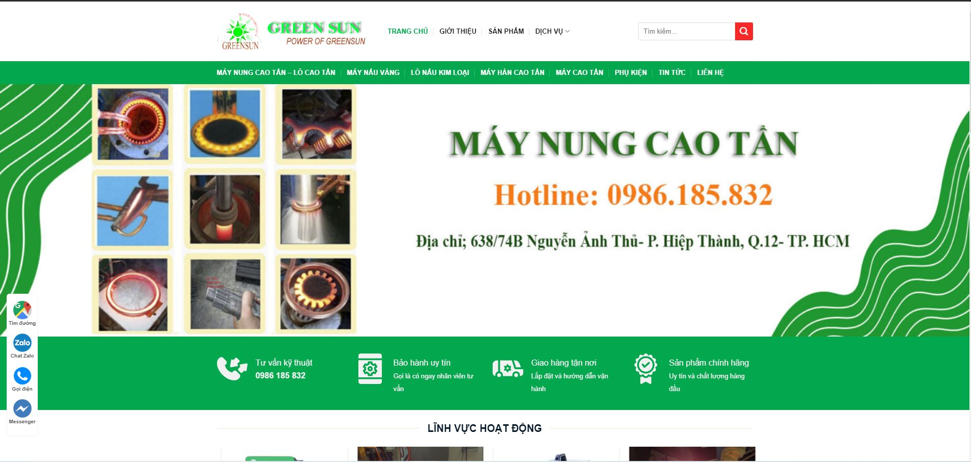 Hình ảnh website chính của công ty Mặt Trời Xanh
